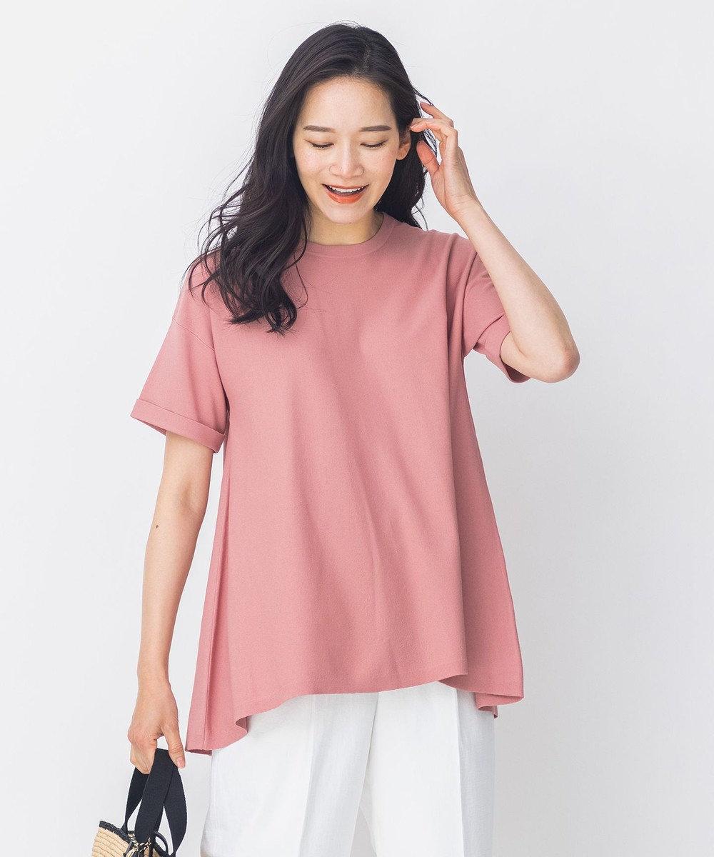 自由区 【洗える】Tシャツライク フレアーニット ピンク系