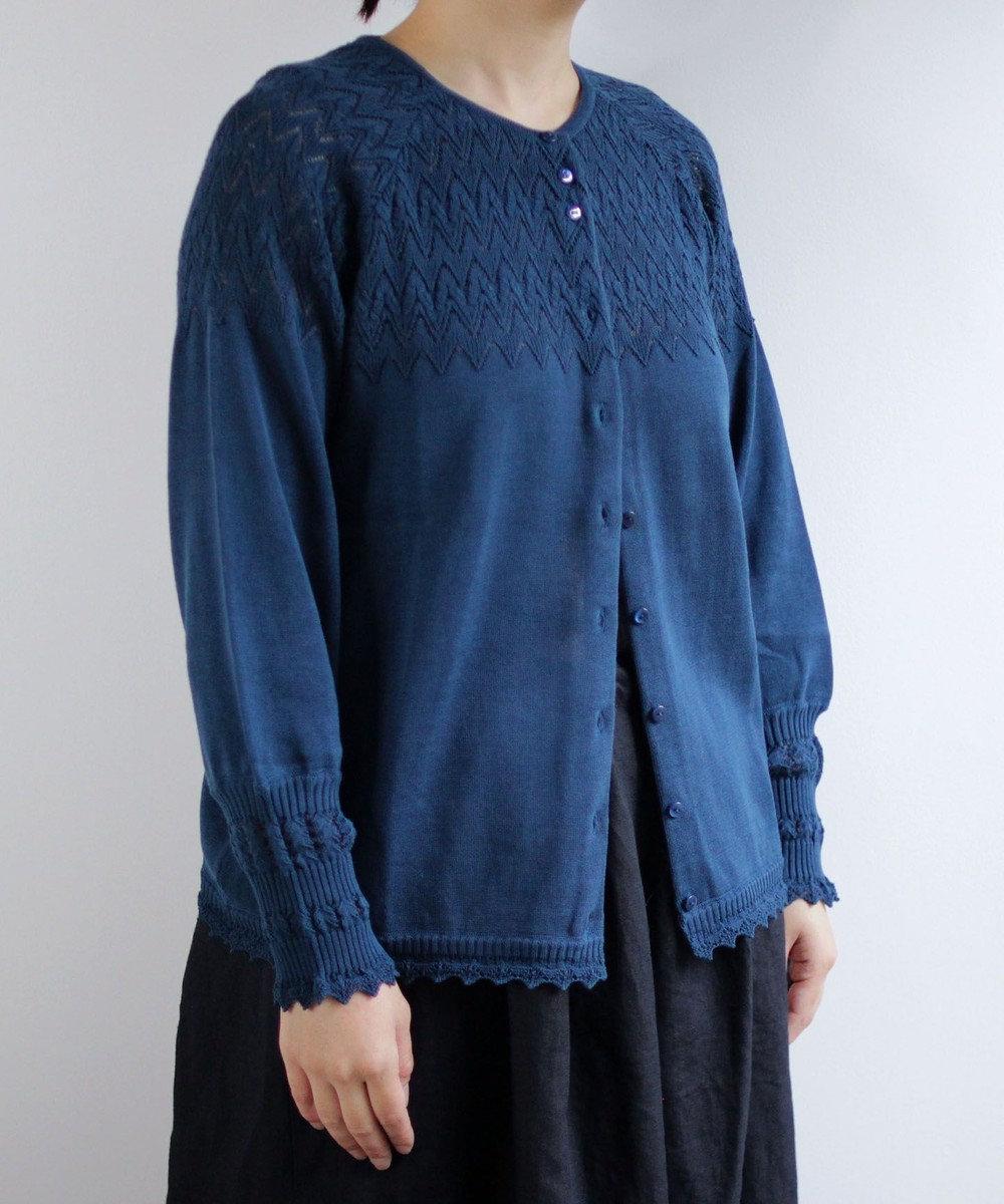 muuc コットンカーディガン BLU ブルー