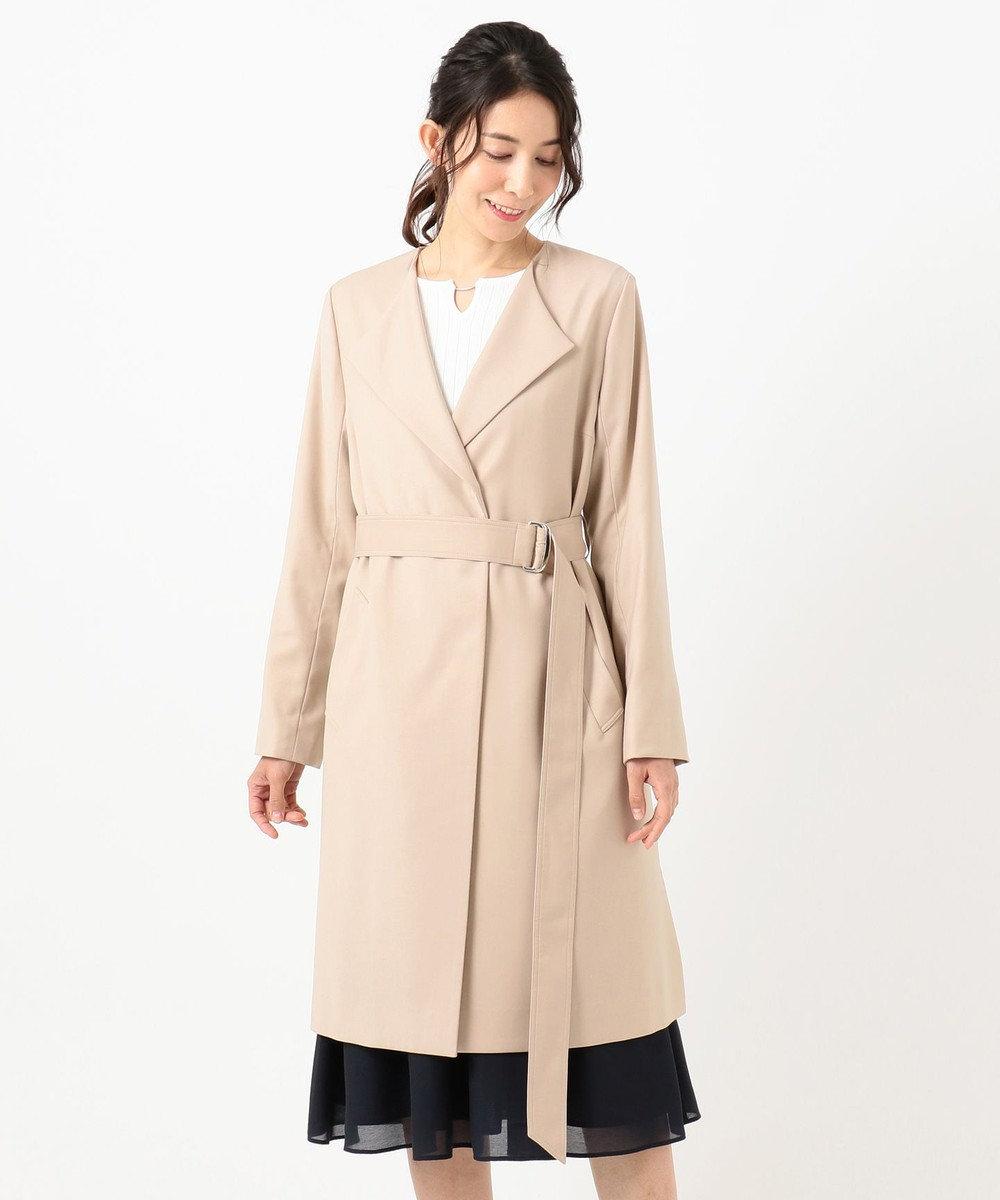 any SiS L ノーカラーライトテロンチ コート ベージュ