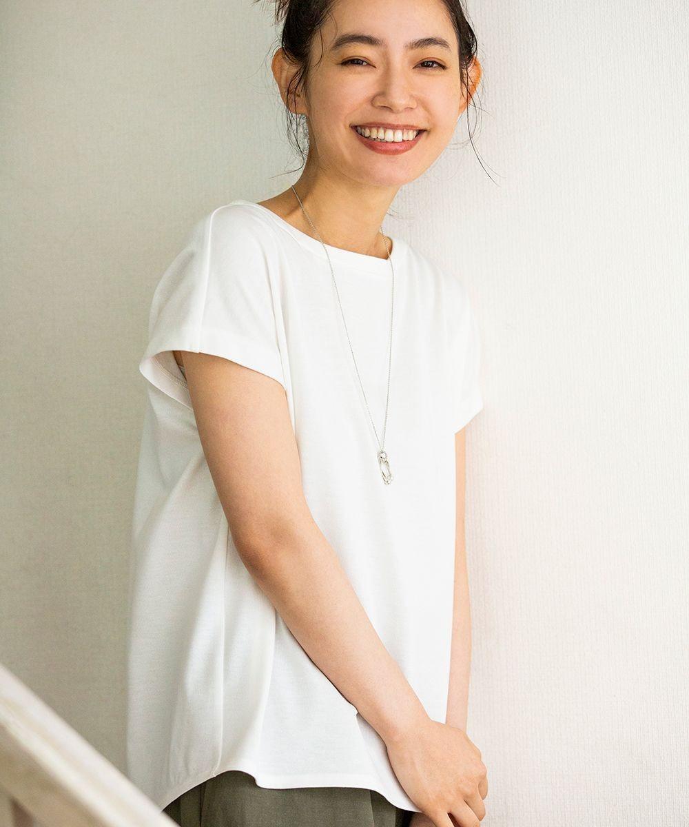 J.PRESS LADIES L 【WEB限定】防汚Tシャツ フレンチスリーブ ホワイト系