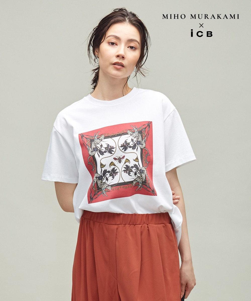 ICB 【MIHO MURAKAMIさんコラボ】コラボプリント Tシャツ パネル