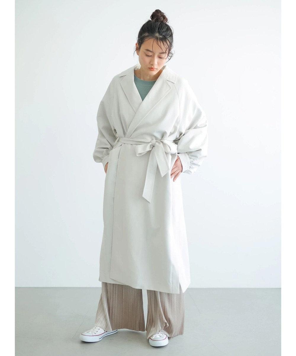 AMERICAN HOLIC 花粉防止袖ギャザーデザイントレンチコート Light Gray