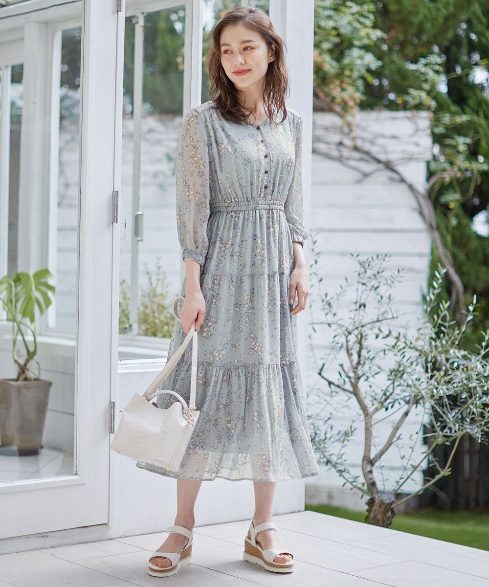 Feroux 【洗える】シャイニーチューリッププリント ワンピース スモーキーグリーン系3