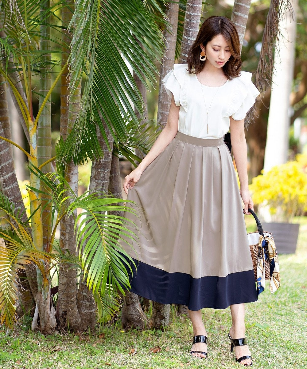 Tiaclasse 【洗える】きれい色で彩る、大人のマキシ丈フレアスカート グレーネイビー