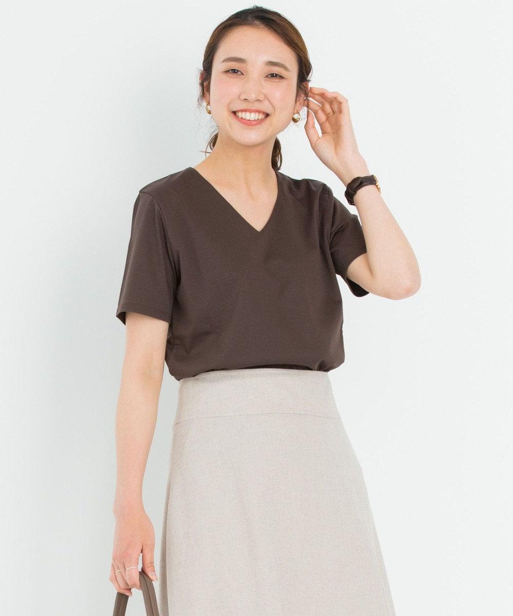 23区 L 【洗える】DOUBLE SMOOTH Vネック Tシャツ ダークブラウン系