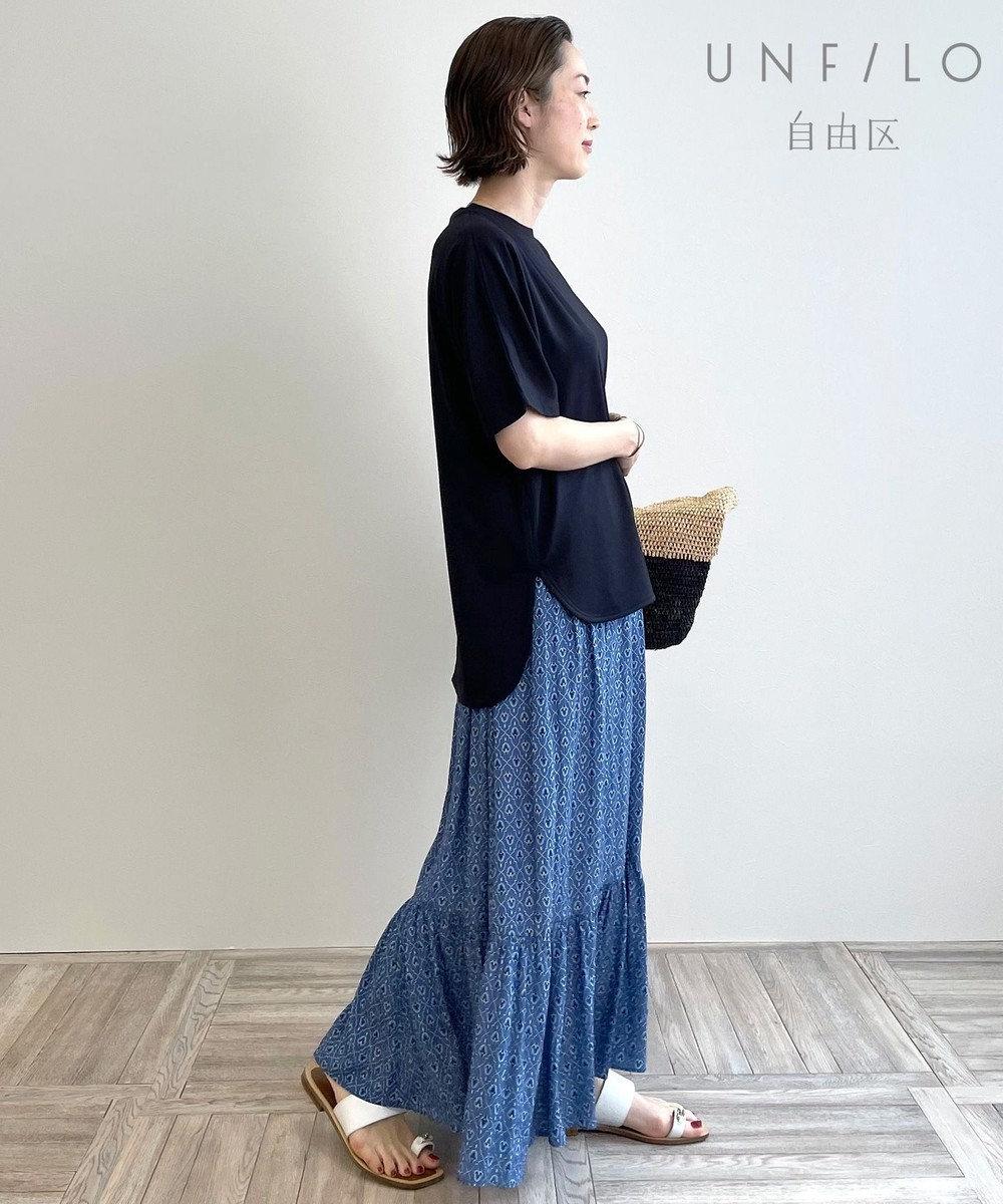 自由区 L 【UNFILO】スプリットデシン ティアード プリント スカート スカイブルー系5