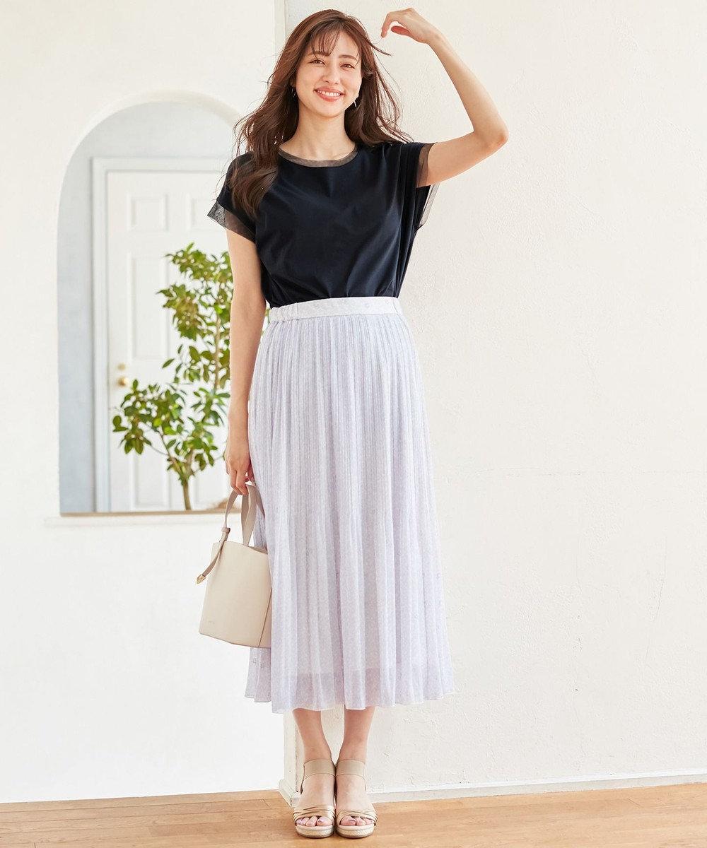 any SiS 【洗える】刺繍風ミニフラワープリント スカート ラベンダー系