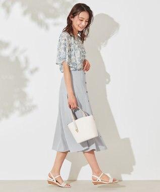 any SiS L 【洗える】カットドビーサラサプリント ブラウス オリーブブルー