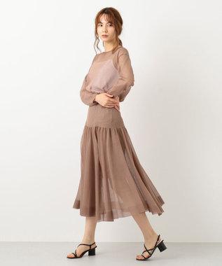 #Newans 【洗える】シアーニットスカート ブラウン系