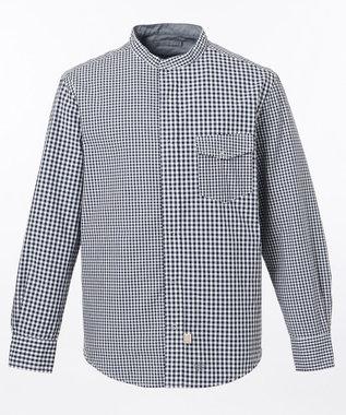 J.PRESS MEN ギンガムストライプ バンドカラー リバーシブルシャツ ネイビー系3