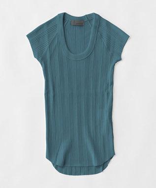 uncrave ランダムリブUネック Tシャツ ティールブルー