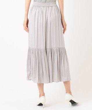 Feroux 【ウエストゴム】クリンクルティアード スカート ライラック系