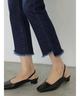 AMERICAN HOLIC ブーツカット裾カットオフデニム Indigo