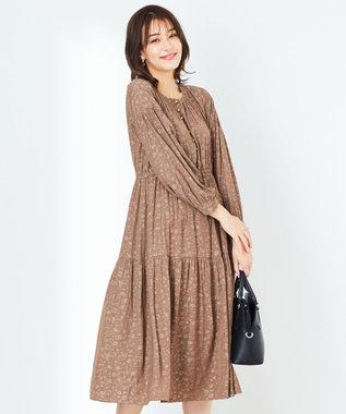 any SiS 【洗える】ジャカードギャザー ワンピース