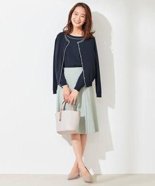any SiS L 【洗える】ラインポイント カーディガン ネイビー×アイボリー
