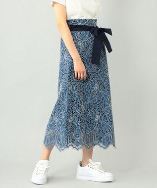 GRACE CONTINENTAL レースタックロングスカート ブルー