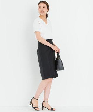 23区 【洗える】DOUBLE SMOOTH Vネック Tシャツ ホワイト系