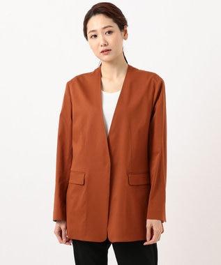 JOSEPH 【柚香 光さん着用】メランジバイストレッチ ノーカラージャケット ブラウン系