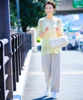 23区 【洗える】プレンウェーブ ストレッチ ワイドパンツ ベージュ系