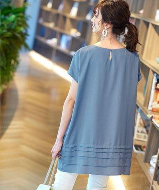 Tiaclasse L 【洗える】幅広く活躍が期待できる、麻調裾タックチュニック ブルー
