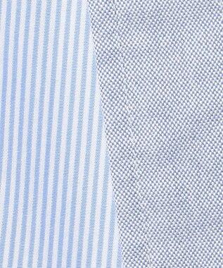 J.PRESS MEN ギンガムストライプ バンドカラー リバーシブルシャツ ブルー系1