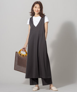 組曲 S 【洗える】ハイストレッチポンチ ジャンパースカート ワンピース ダークブラウン系