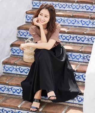 Tiaclasse 【洗える】きれい色で彩る、大人のマキシ丈フレアスカート ブラック