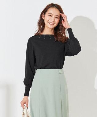 any SiS L 【洗える】ビジュー調キュウシン ニット ブラック系