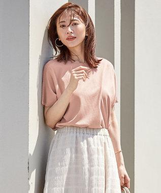 J.PRESS LADIES L 【UVカット・洗える】Functional Cotton Blend 袖レース ニット ピンク系