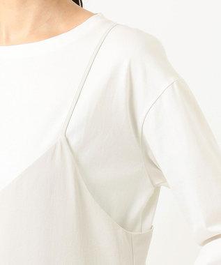 組曲 【シワ加工・洗える】Pe2WAYストレッチキャミワンピ―ス ライトグレー系