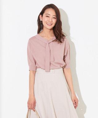 any SiS 【洗える】ハーフスリーブ ボウタイ ニット スモーキーピンク