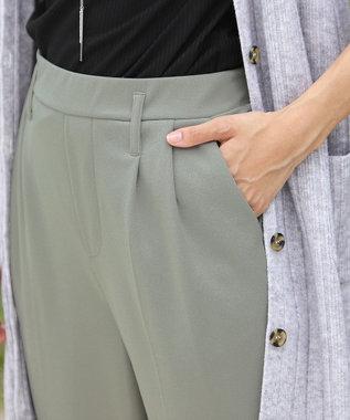 Tiaclasse 【洗える.・ストレッチ】伸縮性抜群のカットジョーゼットテーパードパンツ ミント
