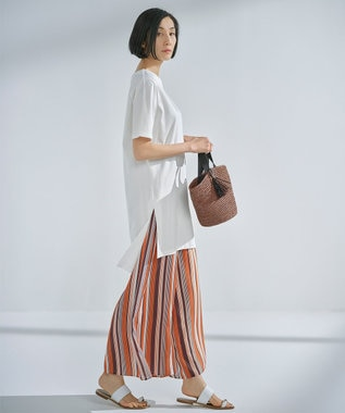 【Sサイズ有】無地 チュニックTシャツ × ストライプ ワイドパンツ セット