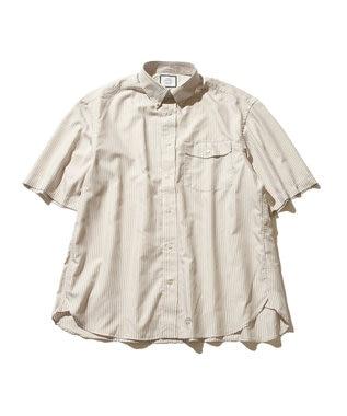 J.PRESS YORK STREET 【UNISEX】ハイカウントストライプ ツイルシャツ ベージュ系1