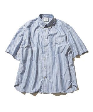 J.PRESS YORK STREET 【UNISEX】ハイカウントストライプ ツイルシャツ ブルー系1