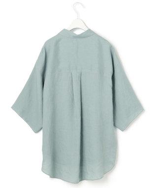 23区 【一部店舗限定】LIBECO スキッパー シャツ ライトグリーン系
