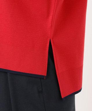 組曲 【洗える】コットンフライス セーターマシーン ボートネック カットソー レッド系