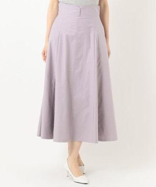 Feroux 【洗える】ボリュームフレアデニム  スカート ラベンダー