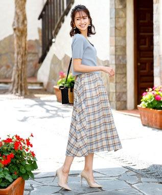 Tiaclasse 【洗える】きれい色で彩る、大人のマキシ丈フレアスカート アイボリーチェック
