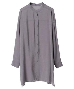 YECCA VECCA マルチwayシルキーロングシャツ Charcoal Gray