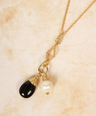 WYTHE CHARM 【8月誕生石オニキス】K14GF ガラスひし形ネックレス