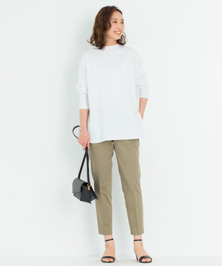 23区 【洗える】コットンベアジャージー ロング Tシャツ ホワイト系