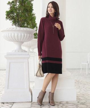 Tiaclasse 【洗える】ミラノリブ編みの配色タートルニットワンピース バーガンディ
