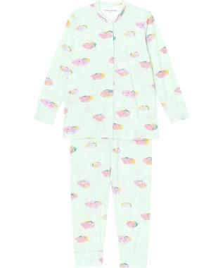tsumori chisato SLEEP パジャマ ロング袖ロングパンツ 雲柄 /ワコール UDO156 メロン