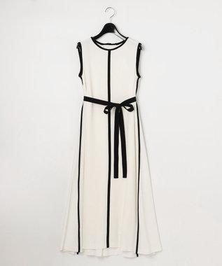 GRACE CONTINENTAL バイカラートリミングドレス ホワイト