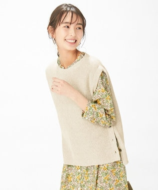 J.PRESS LADIES 【洗える】リネンコットン片畦ベスト ベージュ系