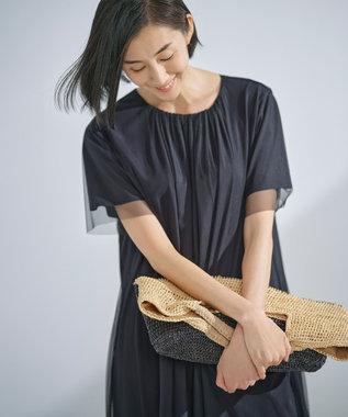 自由区 【Sサイズ有】シアー レイヤード カットソーワンピース ブラック