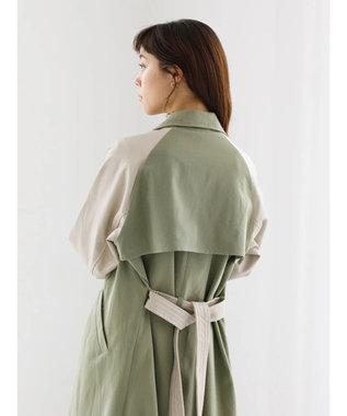 koe 袖フェイクレザートレンチコート Khaki