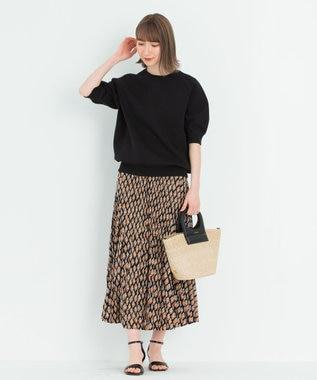 23区 【中村アンさん着用】ヴィンテージプリントプリーツ スカート(番号2H35) ブラック系