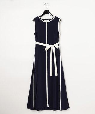 GRACE CONTINENTAL バイカラートリミングドレス ネイビー